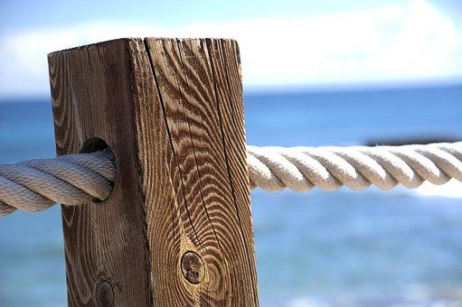 Seaside, Sea, Sky, Post, Wood, Rope, Ocean, Summer