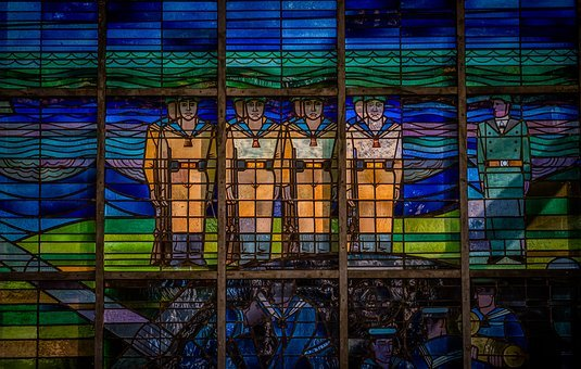 Lead-glass Window, Window, Stained Glass, Old