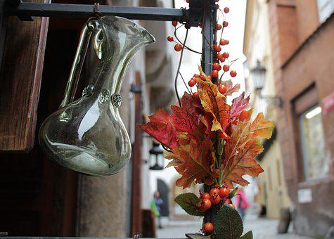 Bouquet, Glass, Ornament, Red, Pitcher, Decorative