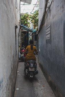 Vietnam, Moped, Driver, Girl, Street, Passage, Road