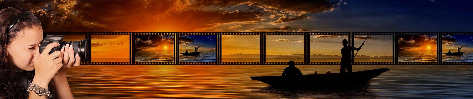 Photographer, Photograph, Sunset, Banner, Header