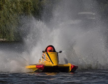 Powerboat, Racing Boat, Water, Water Sports