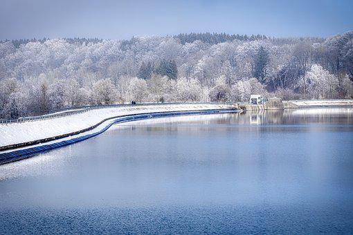 Reservoir, Lake, Water, Snow, Ice, Winter, Frost