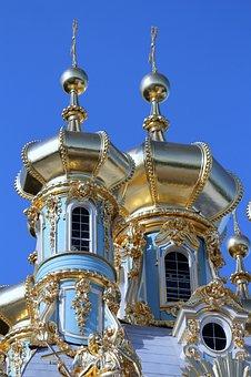 Towers, Gold, Palace, Pushkin, The Royal Selo, Russia