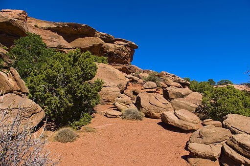 Sandstone Along Grand View Trail, Desert, Rock, Stairs