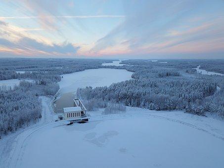 Winter, Sunset, Landscape, Sky, Snow, Cold, Nature