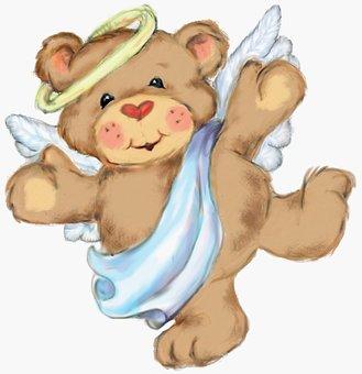Angel, Bear, Teddy Bear, Cute, Happy, Sweet, Teddy