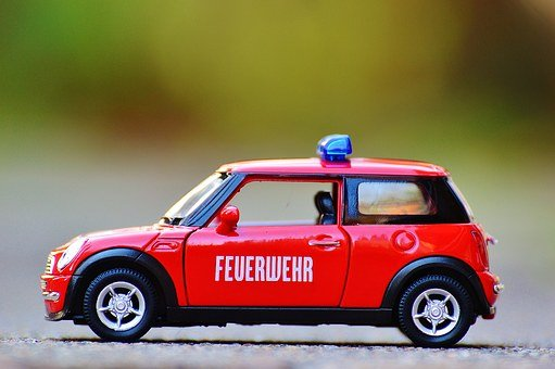 Fire, Mini Cooper, Auto, Model Car, Red, Blue Light