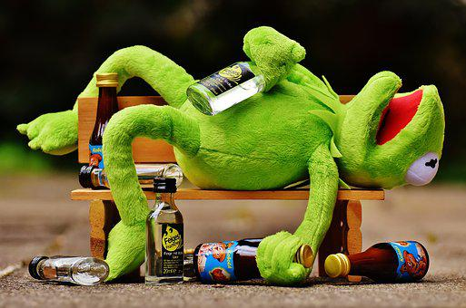 Kermit, Frog, Drink, Alcohol, Drunk, Bank, Rest, Sit