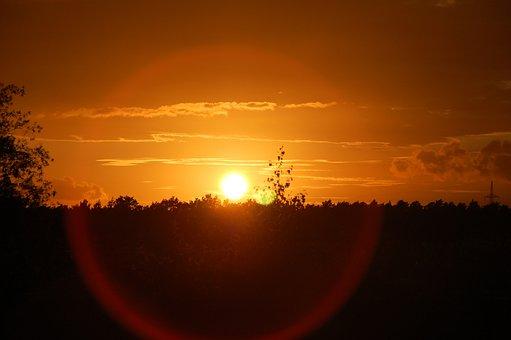 Sunset, Evening, Silent, Sky, Landscape, Afterglow