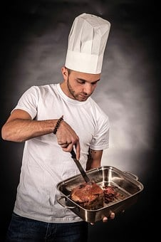 Cooking, Eat, Cut, Food, Meat, Court, Pan, Tasty