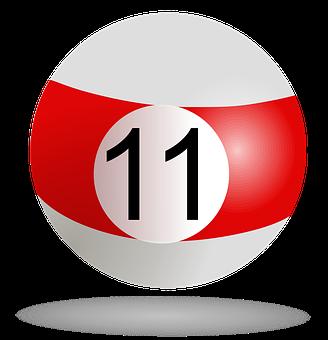 Billiard, Pool, Billiard Ball Striped Red, 11, Game