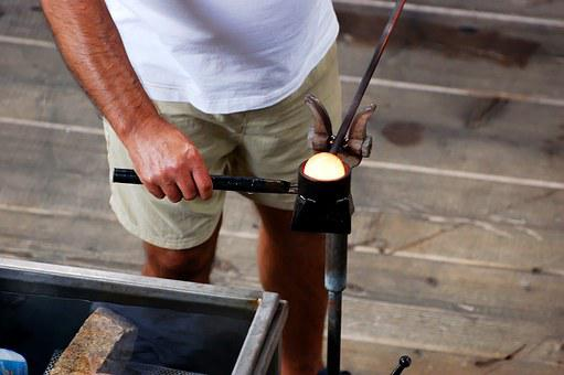 Glass Blower, Glass Blowing, Craft, Flame, Glow, Glass