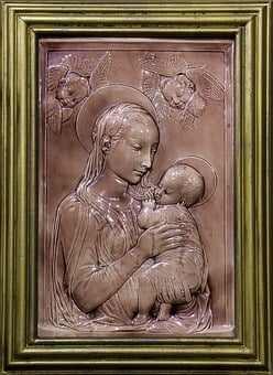 Madonna, Baby, Angels, Mary, Pink, Virgin, Framed