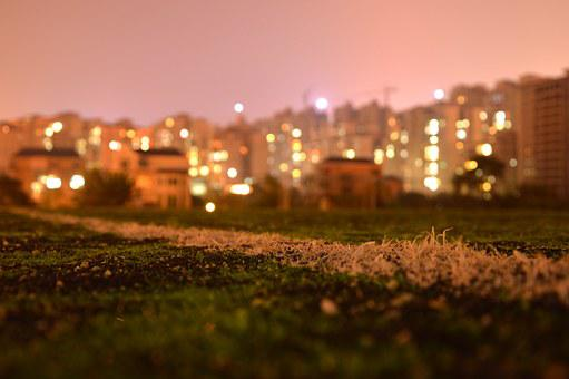 Night View, The Scenery, Football Field, Light