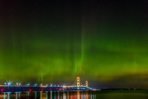 Mackinac Bridge, Northern Lights, Michigan, Lights