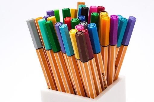 Colored Pencils, Felt Tip Pens, Color, Crayons, Pens
