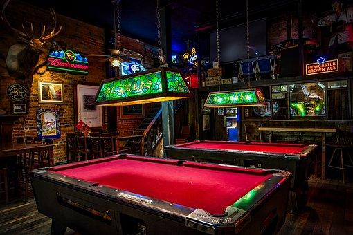 Billiards, Pool Tables, Bar, Pub, Lights, Signs, Neon