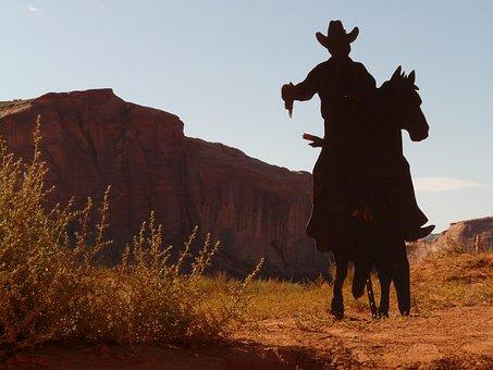 Cowboy, Desert, Revolver, Held, Horse, Ride, Shoot