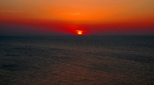 Sunset, The Sun, Light, Sky, Sea, Twilight, Evening