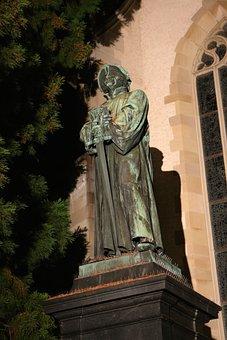 Statue, Held, Switzerland, Ulrich Zwingli, Evening