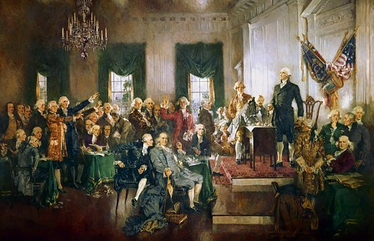 Usa, America, Constitution, Signing, Contract, Painting