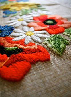 Fabric, Yarn, Blanket, Flower, Art, Craft, Old Design