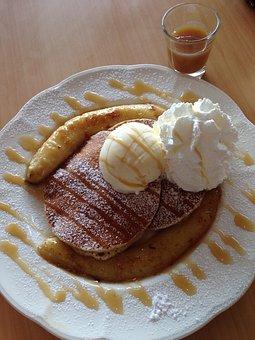 Pancake, Banana, Pancake Banana Caramel, Caramel