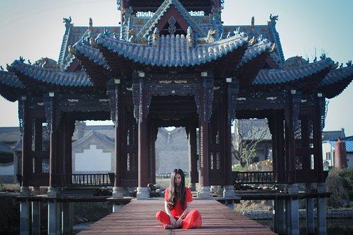 Zen, China Wind, Portrait, Woman, Red Grace, A Separate