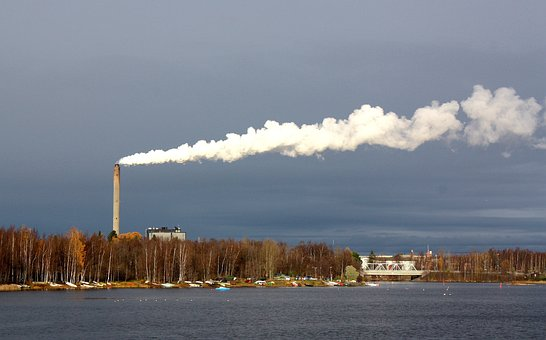 Oulu, Finland, Plant, Power, Smoke, Sky, Clouds, Harbor