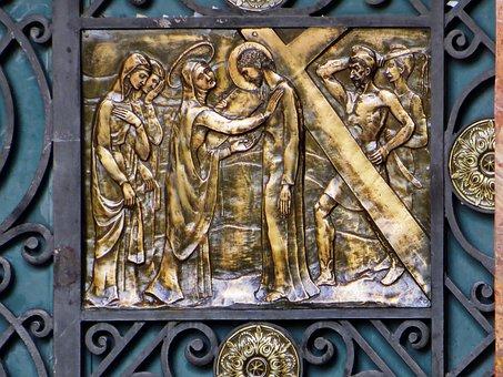 Ecuador, Cuenca, Cathedral, Door, Bronze, Crucifixion