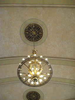 Chandelier, Medallion, Decorative, Antique, Hanging