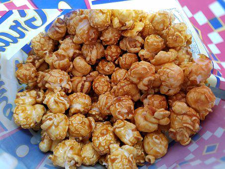Popcorn, Caramel Corn, Snack, Food, Treat, Corn