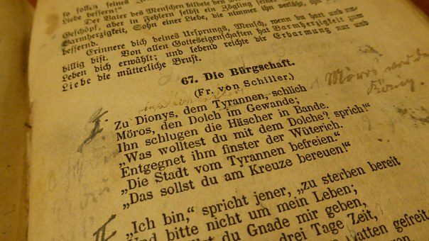 Book, Poem, Old Book, Friedrich Schiller, Notes