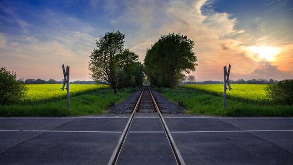 Level Crossing, Gleise, Train, Rails, Fast, Transport