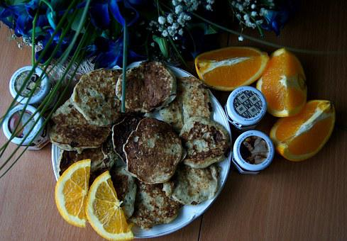Muffin, Oranges, Breakfast, Orchid, Banana Pancakes