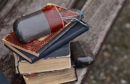 Books, Old, Antique, Glasses, Glasses Case, Old Books