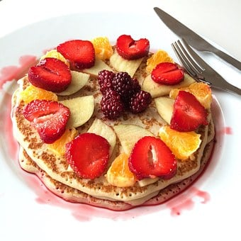 Pancake, Mat, Strawberries, Organic, Ekologiskmat