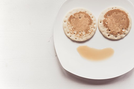 Breakfast, Food, Pancakes, Maple Syrup, Smiley Face