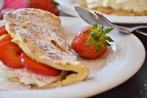 Strawberries, Strawberry Cake, Omelette, Egg Omelette
