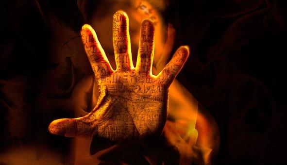 Hand, Fire, Rosetta Stone, Fingers, Words, Translation