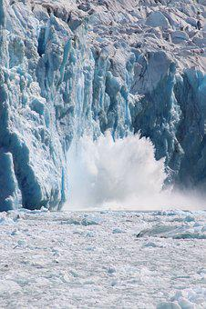 Glacier, Calving, Water, Splash, Ice, Alaska, Blue