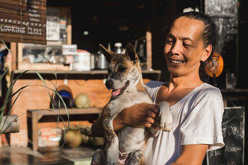 Bali, Balinese, Boy, Man, Dog, Animal, Smiles, Happy