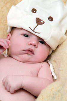 Baby, Cap, Child, Naked, Bear Face, Boy, Baby Knot Hat