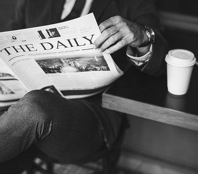 Newspaper, Business, Businessman, Cafe, Coffee Shop