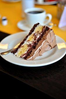 Cake, Cafe, Milka Cake, Chocolate Cake, Banana Cake