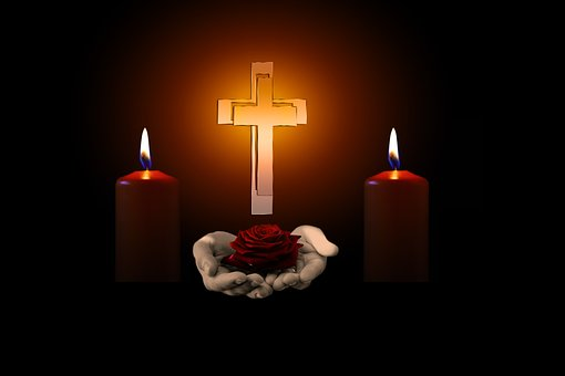 Cross, Hands, Rose, Candles, Mourning, Trauerkarte