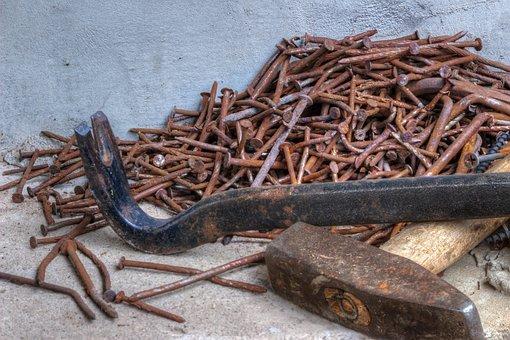 Nails, Hammer, Scrap, Carpenter, Dismantling, Rusty