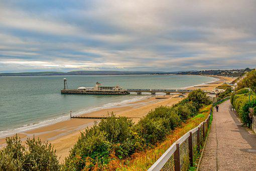 Bournemouth, Pier, Beach, Sand, Travel, Sky, Clouds