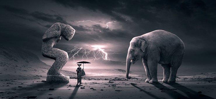 Fantasy, Surreal, Scene, Elephant, Figure, Dream